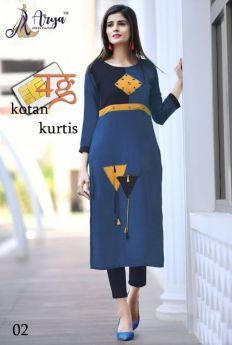 Kurti Designer Cotton Long 4 pcs set M L XL 2XL-1
