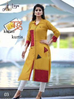 Kurti Designer Cotton Long 4 pcs set M L XL 2XL-2
