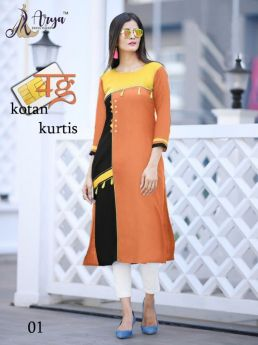 Kurti Designer Cotton Long 4 pcs set M L XL 2XL-3