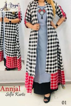 Long Kurti with koti combo pack  4 pcs m l xl xxl;-1