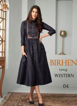 Western Outfit women 4 pcs set m l xl xxl-Blue-BIRHEN