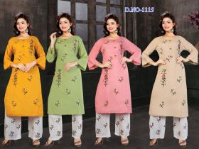 EMBROIDERY KURTI & PLAZO SET COMBO PACK 4 COLOURS -XXL