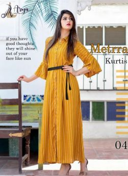 LONG KURTI-Yellow-M L XL