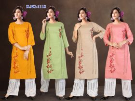 EMBROIDERY KURTI & PLAZO SET COMBO PACK 4 COLOURS -XL