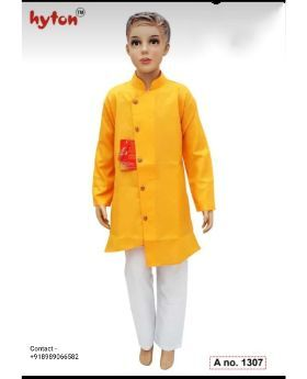 hyton kurta pajama for 1 year to 10 year party wear-Yellow