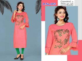 WOMEN EMBROIDERY KURTI COTTON LONG-XL
