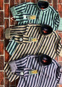 K-JOHN CALVIN TWILL STRIPE CASUAL SHIRTS M L XL WITH MASK