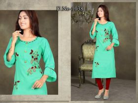 WOMEN EMBROIDERY KURTI COTTON LONG-XL 2XL