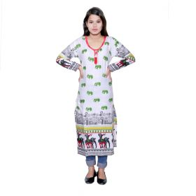 bczstyle cotton print long kurti 4 pcs set m l xl 2xl-Yellow
