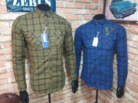 ZERIS BRANDED CHECKS SHIRT 6 PCS SET M L XL -KHAKI & BLUE-M L XL