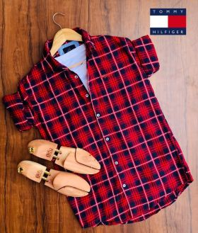 Shirts checks Tommy Hilfiger  4 PCS set-Red-M L XL 2XL